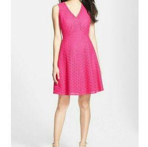 Halogen hot pink eyelet fit and flare dress